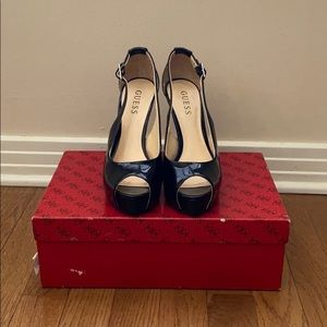 Guess Black Peep-Toe Heels
